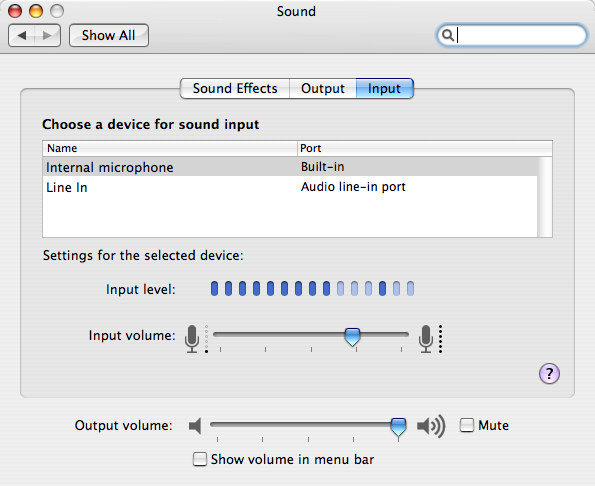 Sound Input Preferences Screen